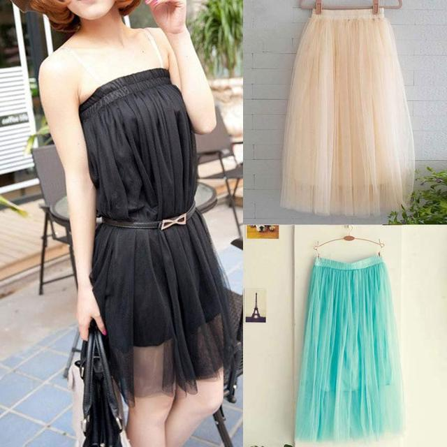 04199b17d2b Fashion Women Multi Layers Pleated Long Tulle Skirt Straight Solid Mesh  Elastic Waist Skirts 2 Wearing Ways FS99