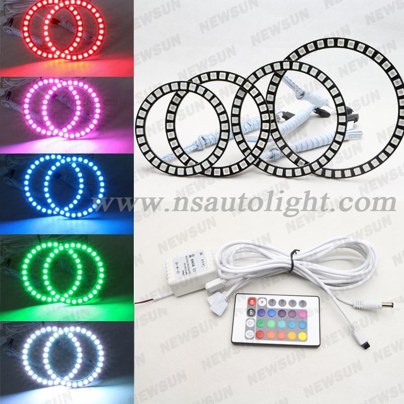 4*90mm RGB led lights wholesale price led halo rings 12V 10000K angel eyes rgb led angel eyes for BYD for Chery for Golf4