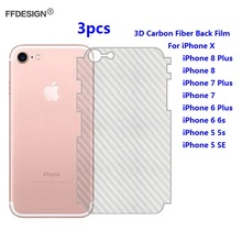 3D Carbon Fiber Protective Back Protector For iPhone X 6 6s 7 8 Plus 5s 5 SE Back Film Protection Cover Foil Guard Skin все цены