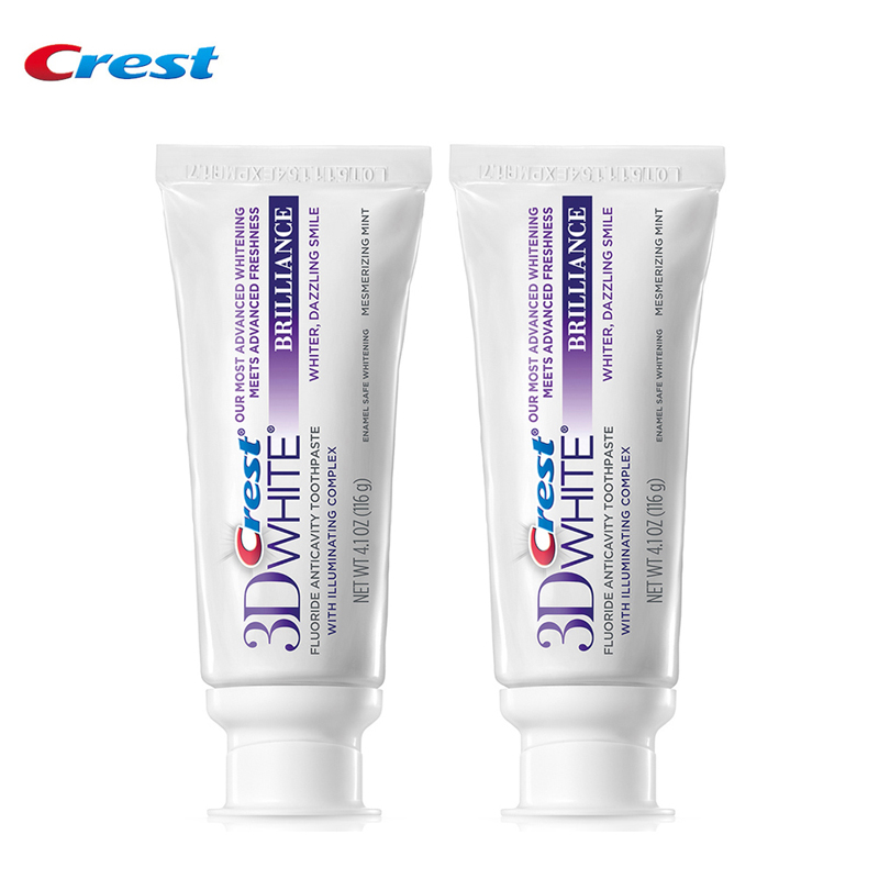 Crest 3D Brilliance White Glamorous White Toothpastes Deep Clean Oral Hygiene Teeth Whitening 116g*2