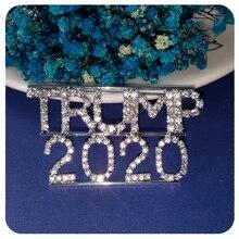Blingbling Rhinestone TRUMP 2020 Word Brooch Pin Jewelry