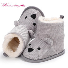 Cartoon First Walkers For Baby Winter Shoes Boots Knitted Keep Warm Wool Booties Infant Toddler Newborn Booty