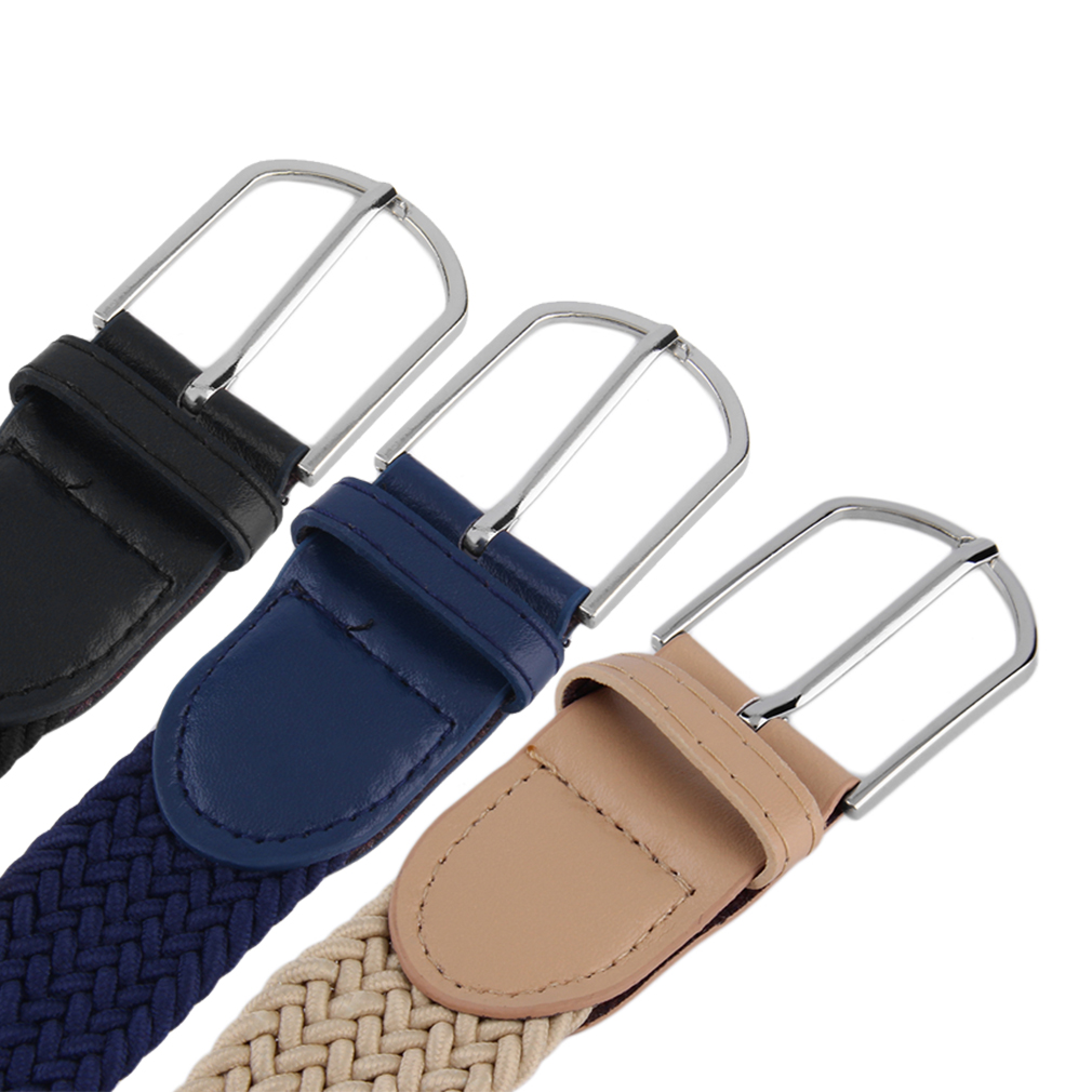 Women Casual Black Solid Woven Braided Stretch Elastic Belt Waist Strap Stylish Practical Dress Cloth Accessories For Women Men