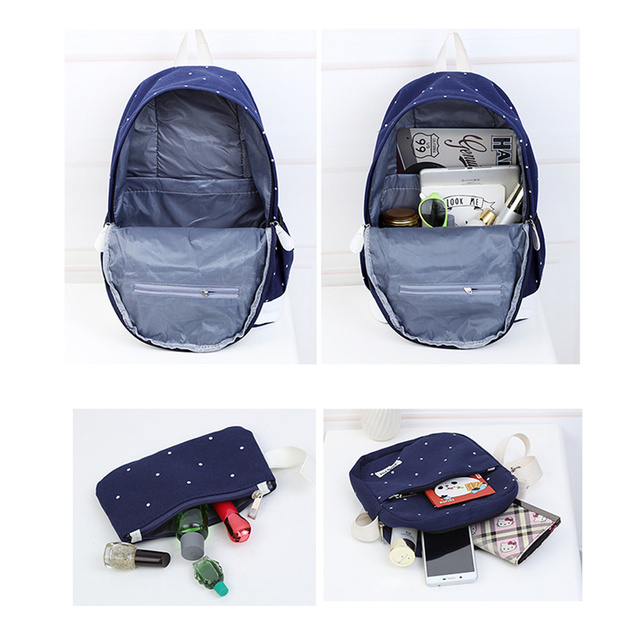 3 Sets canvas backpack women dot school bag for teenagers girls high quality female backpacks Preppy Style bags 3
