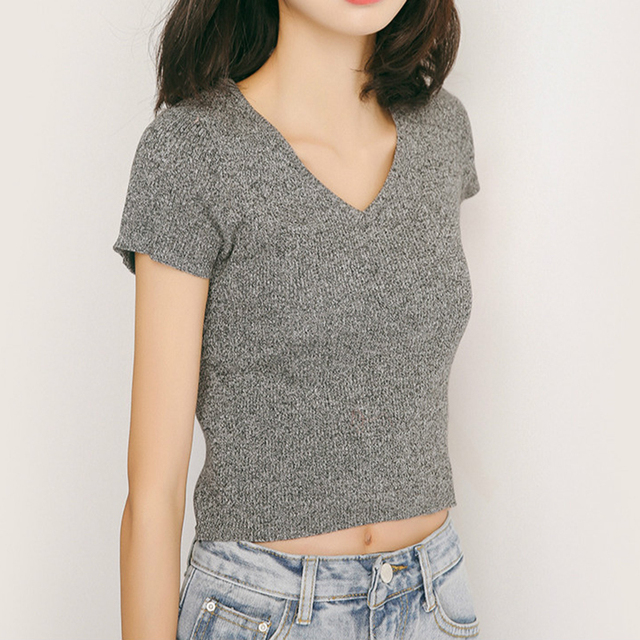 062b75b0009 Women Basic V Neck Cropped Sweater Summer Short Sleeve Ribbed Cotton Knit  Top Pullover