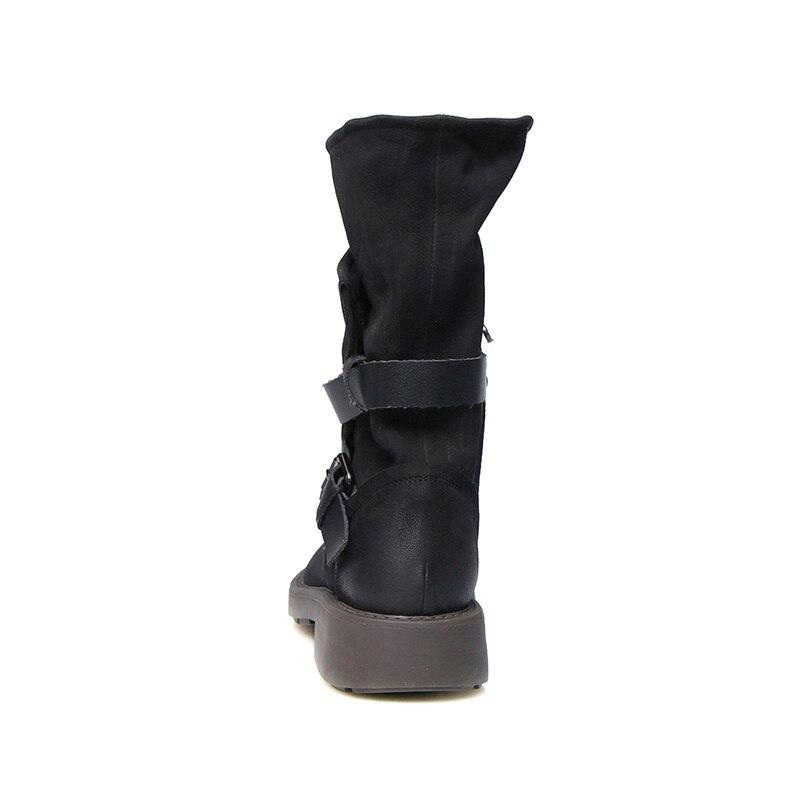 Invierno Motocicleta Mujer brown Moda De Mujeres La Black Las Genuino Superestrella 2018 Cuero Zapatos Hebilla Botas qTtZI