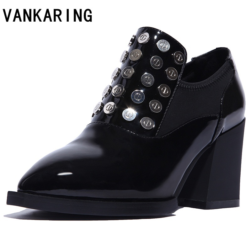 VANKARING new spring autumn genuine leather pointed toe thick heel women pumps rivets brand high heels office ladies black shoes new women s high heels pumps sexy bride party thick heel round toe genuine leather high heel shoes for office lady women t8802