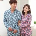 Пары теплую весну и осень женская мультфильм пижамы хлопка костюм свободного покроя с длинными рукавами любовь костюм kigurumi pijamas mujer