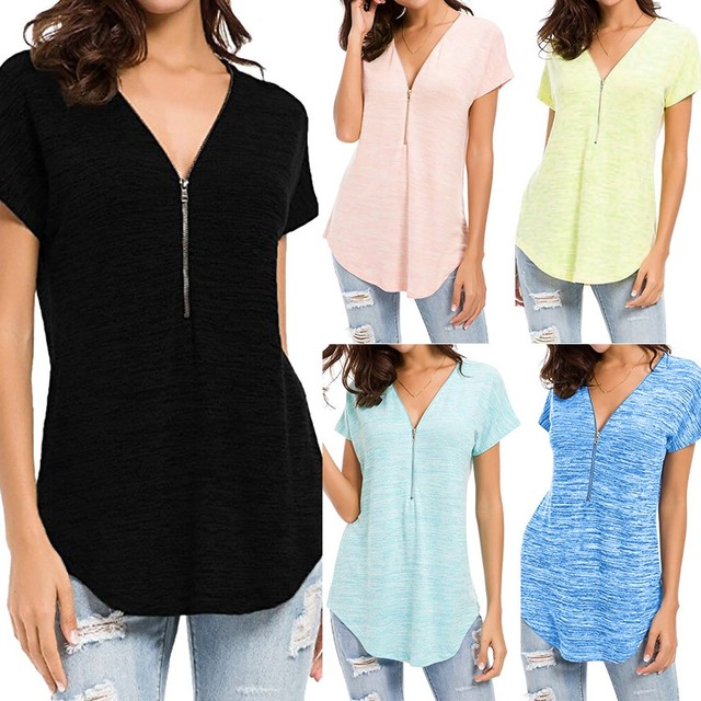 bfe70d5e719 High Quality Summer Top Women Clothing Special Design Loose Fitting Zip Up V  Neck Short Sleeve Tops Tunic Casual Shirt