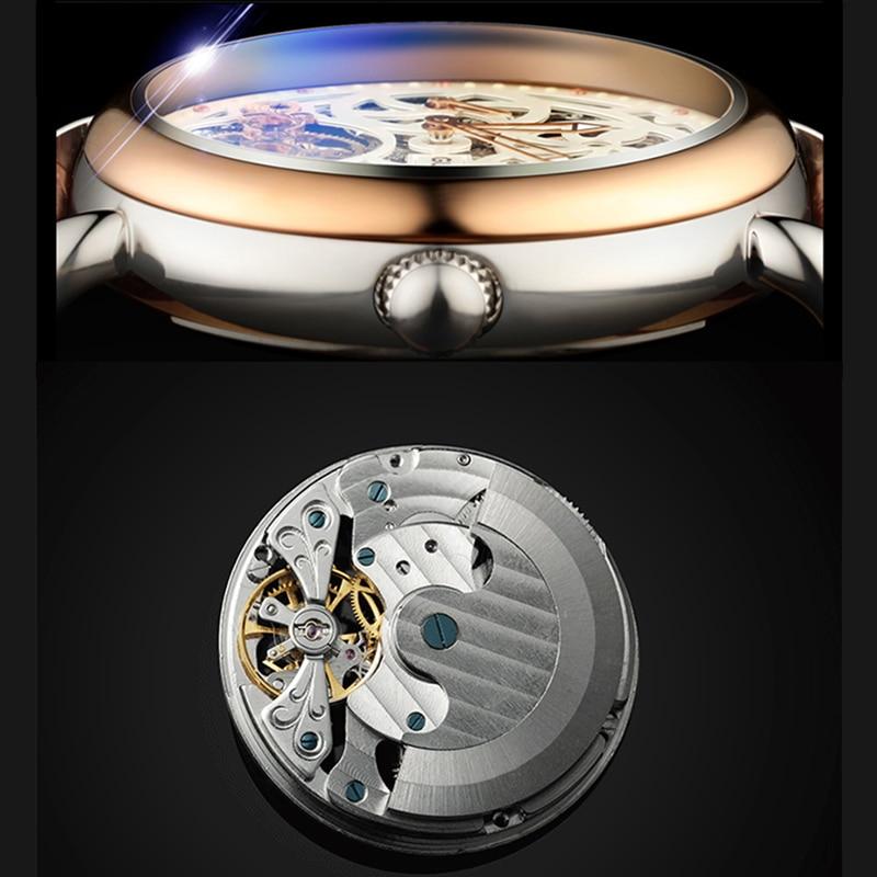 Часы со скелетом GUANQIN, модные мужские часы с большим циферблатом, 10 бар, автоматические часы для плавания, фаза Луны, светящиеся турбийон, механические часы - 3