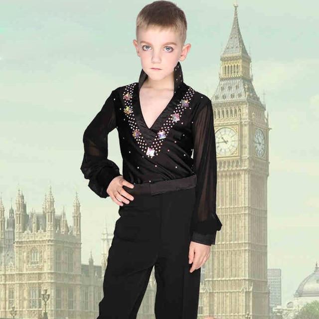 Good Quality Boys Teen Ballroom Latin Dance Tops For Children Cha Cha Rumba Samba Jive Long Sleeve Shirt Not Including Pants