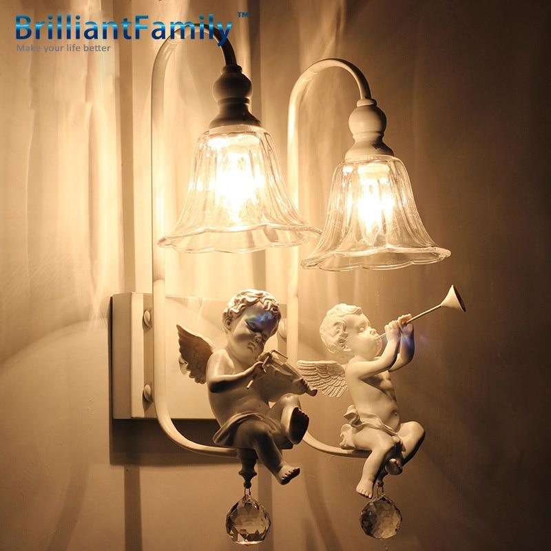 ФОТО Room Bedroom Wall Children Lamp X21x48cm 16 American Simple Lens Headlight E14 V * 1220 Continental Angel Wall Lamp Milk White