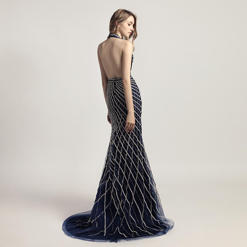 72a090bb92 Glitter Borgoña sirena cabestro Vestidos de noche con cuentas de ...