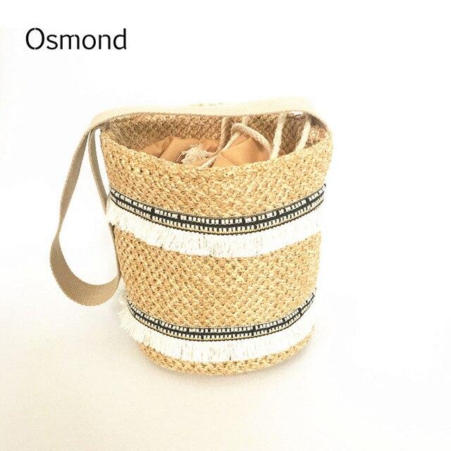 Осмонд Новинка 2017 года женская летняя пляжная сумка Богемия соломы ведро повседневные сумки для женщин сумка большой шнурок сумки кисточкой солнце