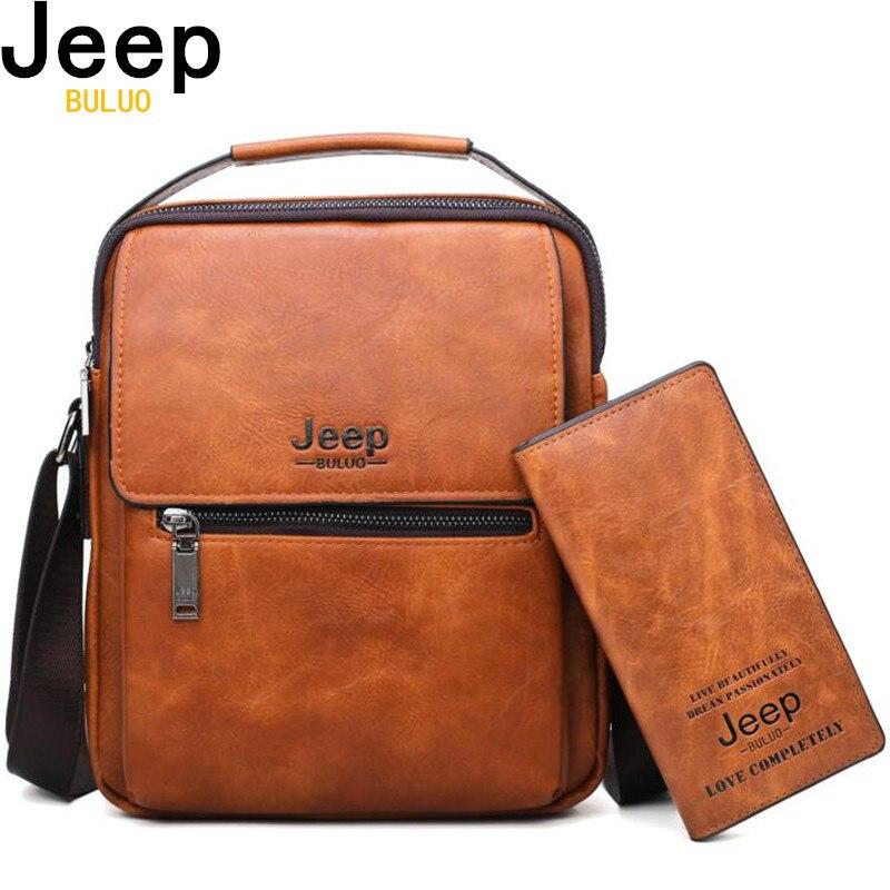 JEEP BULUO Brand Men Shoulder Bags 2pce set Crossbody Business Casual Handbag Ma