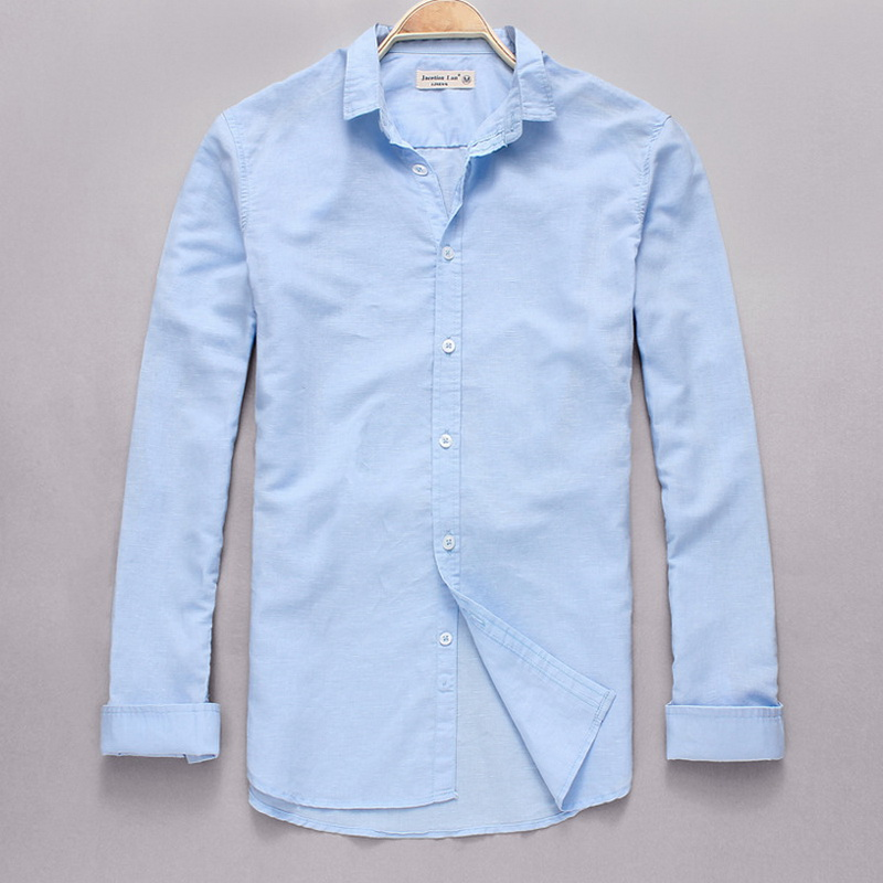 Nieuwe stijl katoen + linnen shirt mannen slim fit lange mouw heren - Herenkleding