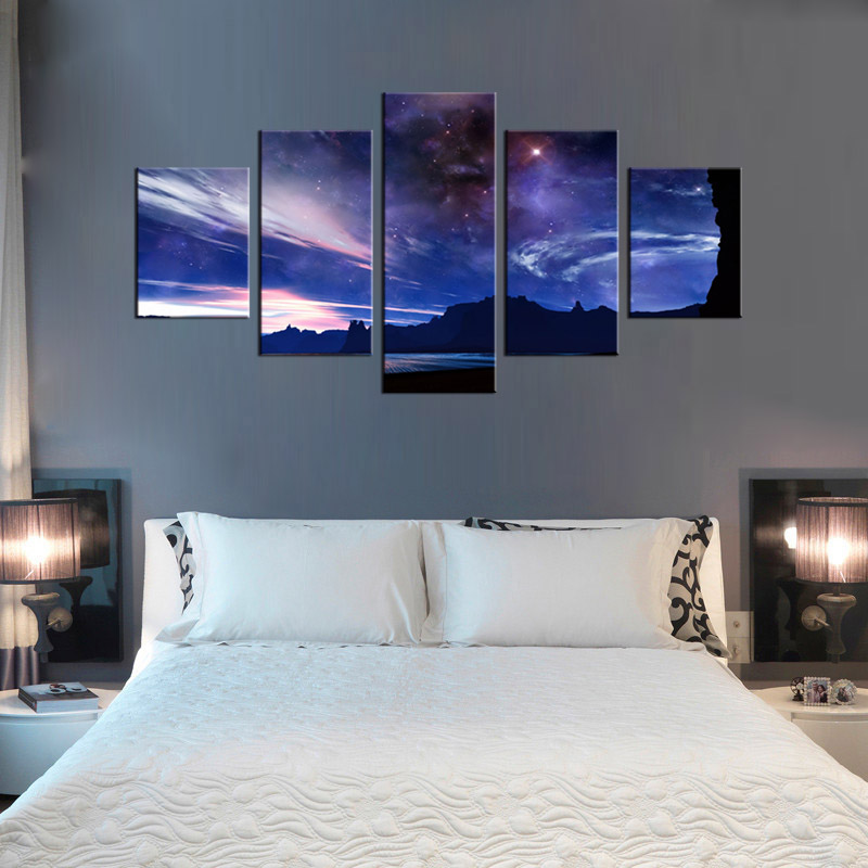 5 panel sky stars landscape canvas mural art home decoration living room canvas printing modern painting XL FJ 33 1 in Painting Calligraphy from Home Garden