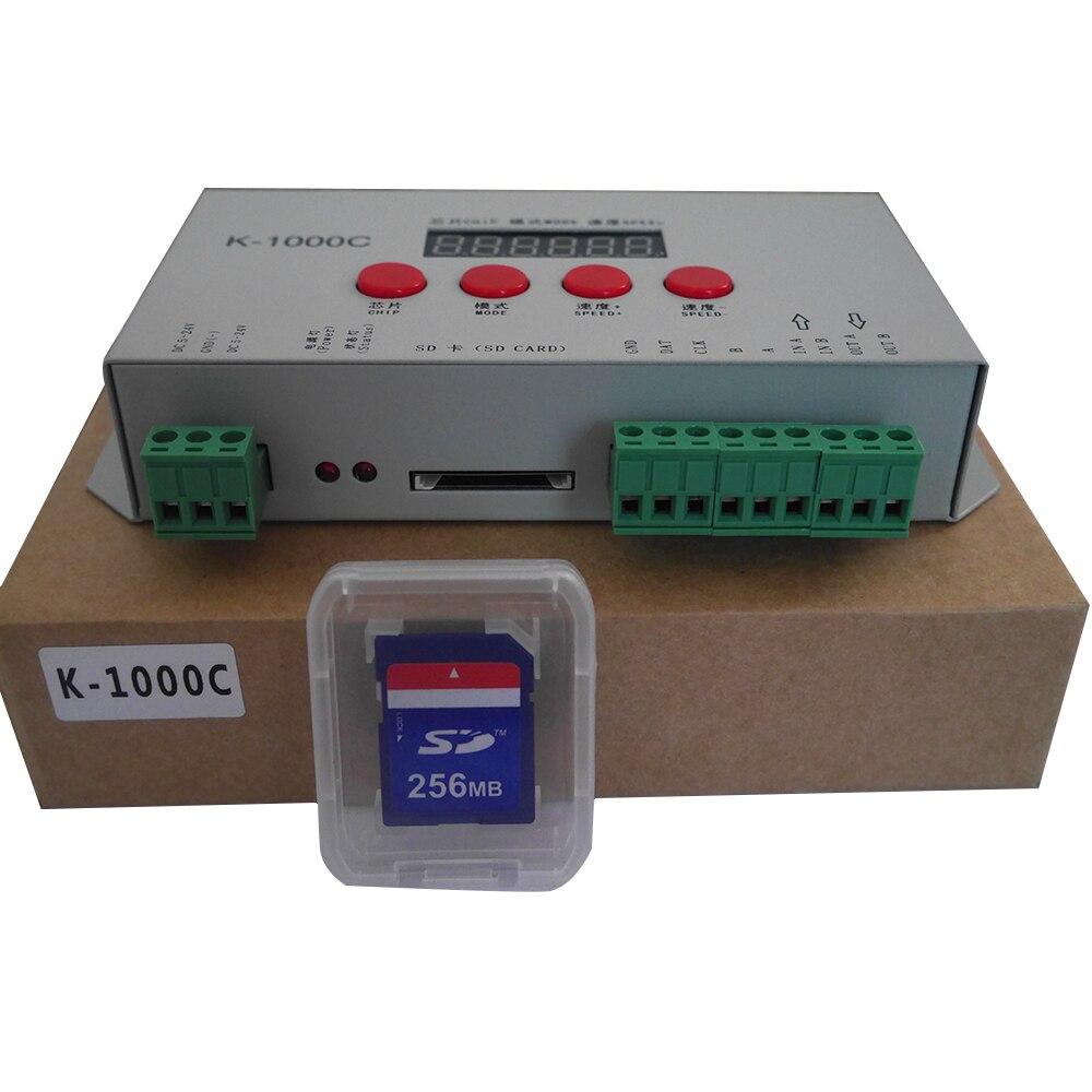K-1000C (T-1000S Updated) Controller WS2812B,WS2811,APA102,SK6812,2801 LED 2048 Pixels Program Controller DC5-24V