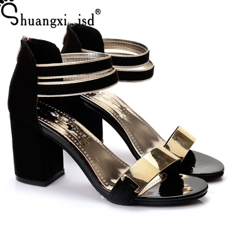Sandals Women Summer 2018 New Woman Shoes Suede Shallow Mouth High-heel Female Sandals 35-39 Zapatos Mujer Chaussure Femme