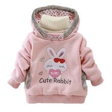 Толстовки с капюшоном для девочек; одежда для детей; сезон осень-зима; Плотные хлопковые топы для маленьких девочек; милое пальто с капюшоном и рисунком кролика