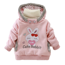 Girls Sweatshirts Hoodies Children Clothing Autumn And Winter Baby girl Thick Cotton Tops Kids Cute Cartoon