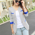 2016 spring women's suit stripe jacket slim tops plus size OL work wear blazers for Female blazer  XXL JN084