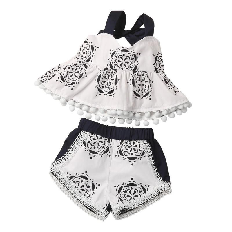 2017 New Infant Kids Baby Set Girl Geometric Printing Tassel Top Sleeveless Shirt+Shorts Outfit Summer Shorts baby girl clothes