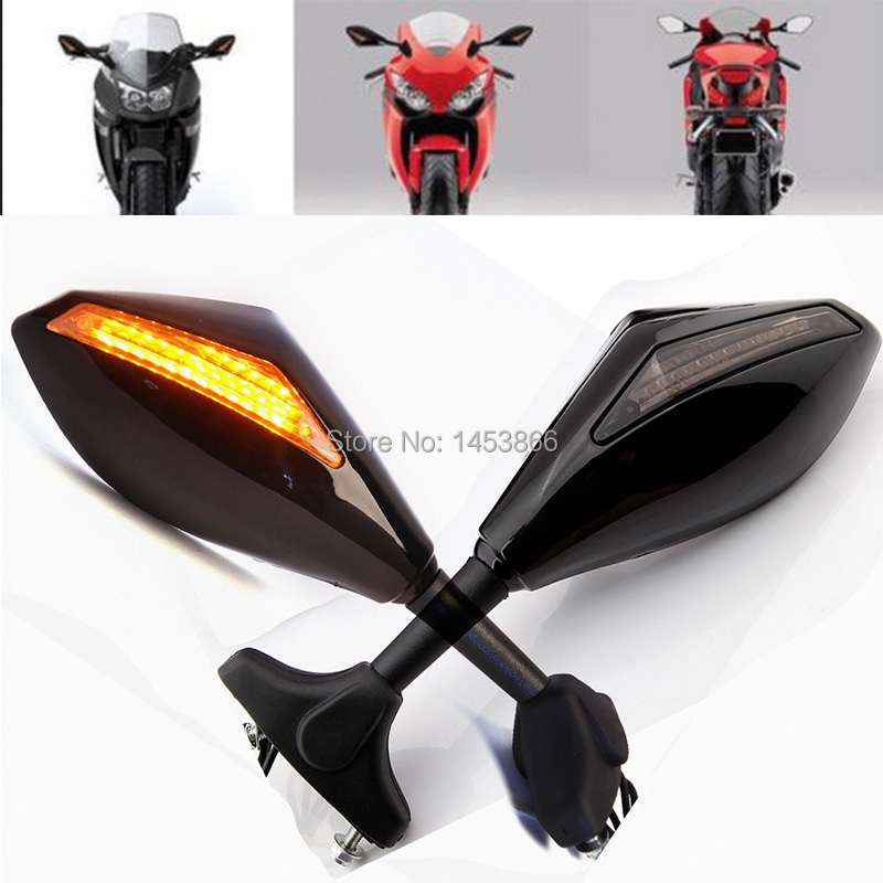 цена на Motorcycle LED Turn Signal Rear View Side Mirrors For Honda CBR 250 600 1000 RR F3 F4 RC51/RVT1000R Suzuki SV650S Yamaha YZF R6