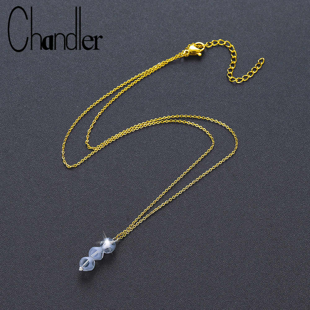 Chandler 2019 New Minimalist  Bead Necklace Round Crystal Charms Colar Collares Simple Everyday CZ Jewelry Femme Homme Bijoux