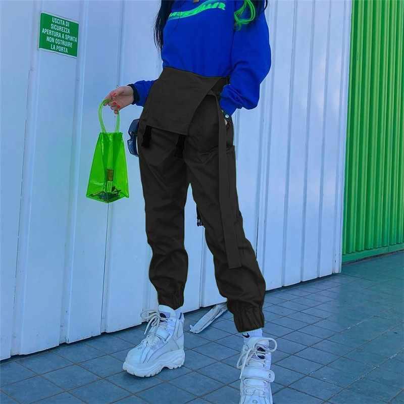 Sólido fajas alta calle babero Pantalones mujer marca Hip Hop Casual cadena monos señoras Streetwear verano Harem pantalones cwp0027-5