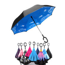 Chuva-Umbrella Self-Stand Reverse Inverted C-Hook-Hands Rain-Protection Folding Double-Layer