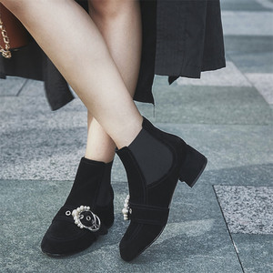 Image 4 - FEDONAS 1Fashion Women Ankle Boots Autumn Winter Warm Patent Leather High Heels Shoes Woman Pearl Buckle Decoration Basic Boots