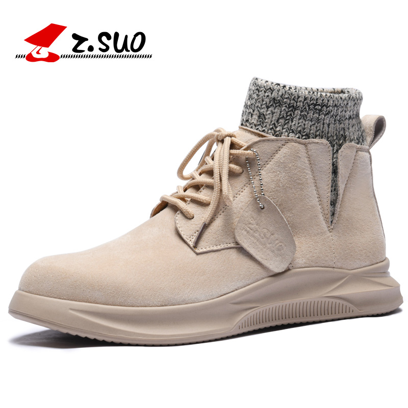 ZSUO Brand Sock opening design Men s Boots Soft Comfortable Genuine Leather Ankle Boots Men New