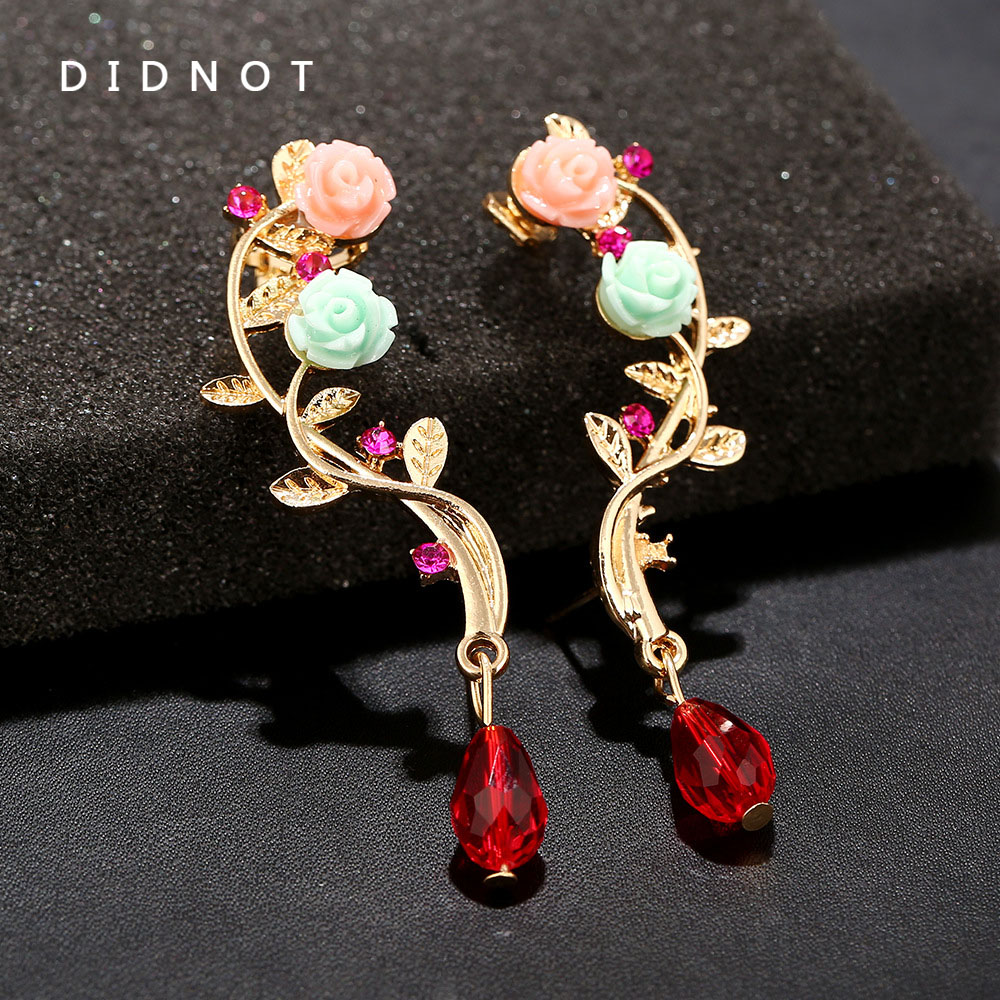 Didnot Rose Flowers Curved Clip Earrings Left Right Earring Clip  Personality Ear Cuff Fashion Earring Jewelry