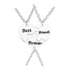 3pcs / set Лучшие друзья навсегда Сердце ожерелье Женщины сломанные сердца сплайсинг подвески и ожерелья дружбы BFF ювелирные изделия Collares