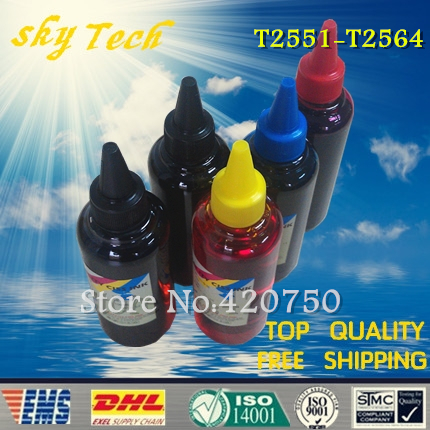 Dye refill ink Suit for Epson T2551, T2561 - T2564 cartridges ,suit for Epson expression premium XP-701 , etc dye refill ink suit for epson t5846 cartridges suit for epson pm280 pm200 pm240 pm290 pm225 specialized ink