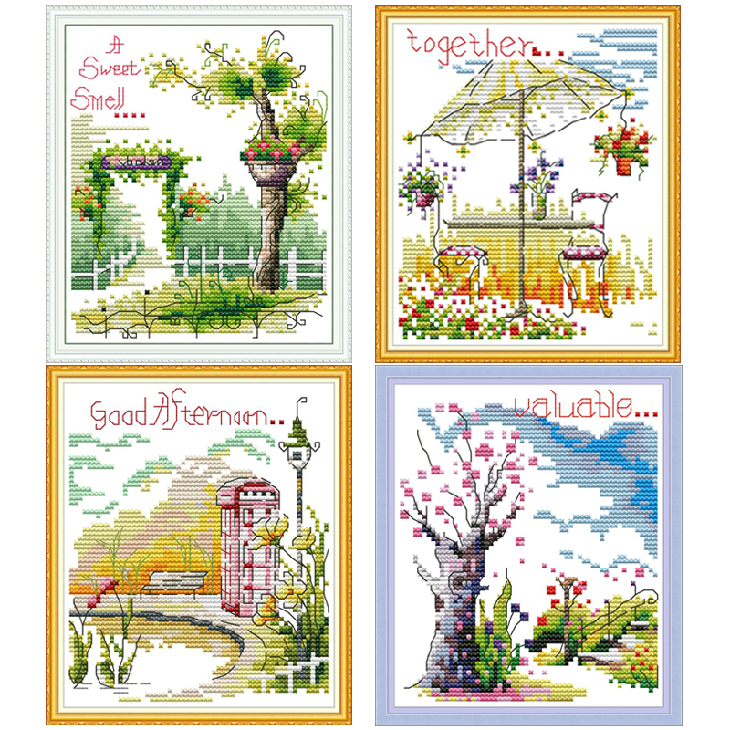 NKF Four Seasons Stamped Cross Stitch Patterns DIY Kits Needlework Embroidery Sets Cross Stitch For Home Decor