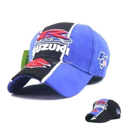 Prix pour Nouveau Noir bleu F1 SUZUKI GSX R casquette de baseball chapeau réglable coton embroideried moto gp cap Moto Bouchon De Course camionneur chapeaux
