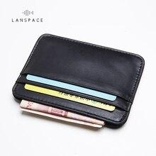 LANSPACE leather men's card holder brand wallet card holder handmade card id holders