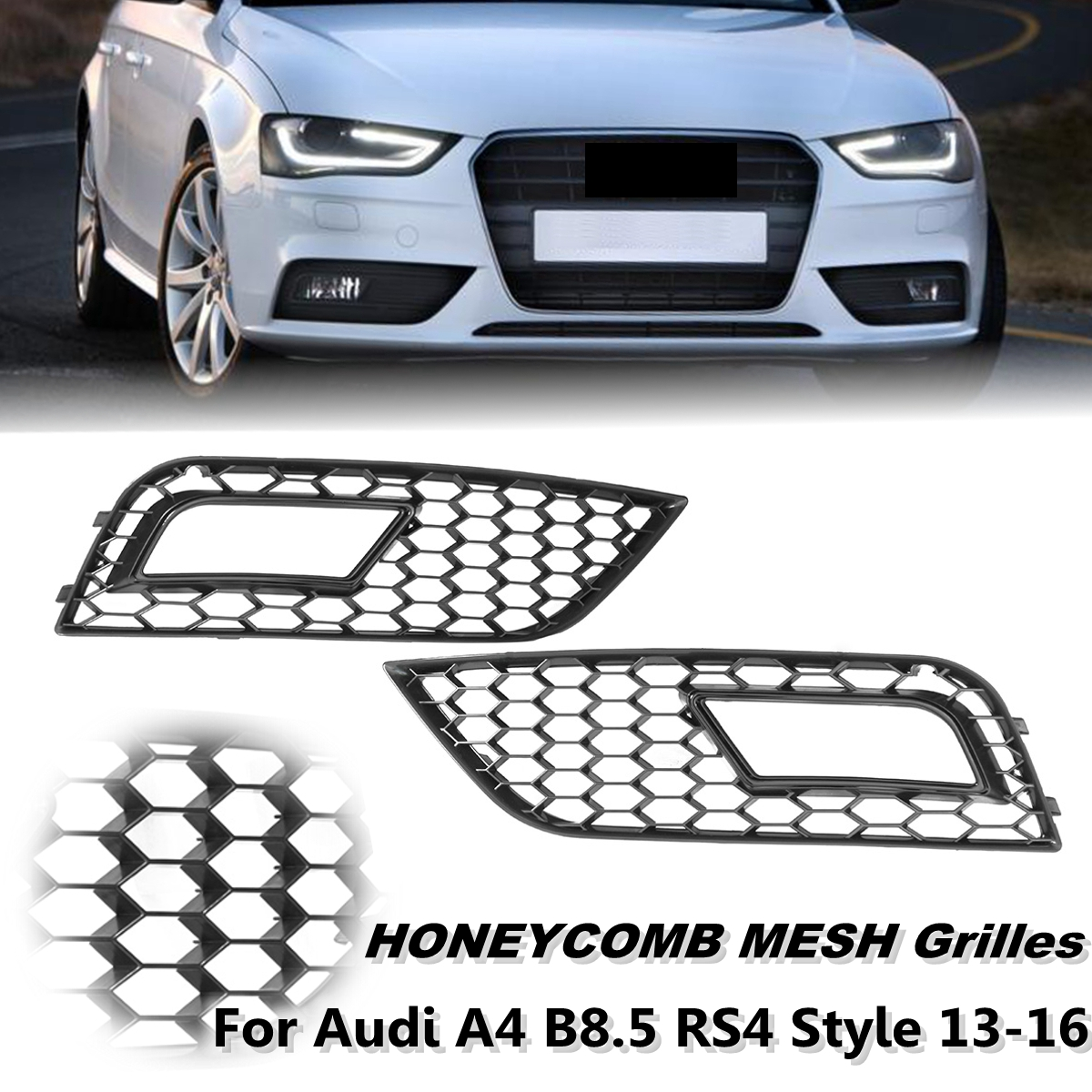 For Audi A4 B8.5 RS4 Style 13-16 Pair Left & Right Gloss Black Mesh Fog Light Grid Grilles Car Styling Racing Grills undefasa royal gold gloss grid 25x75