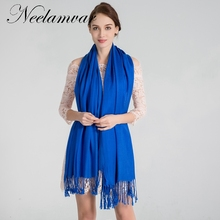 Neelamvar brand scarf women classical solid scarves cotton tassels shawl Autumn Winter warm pashmina echarpes for fashion ladies