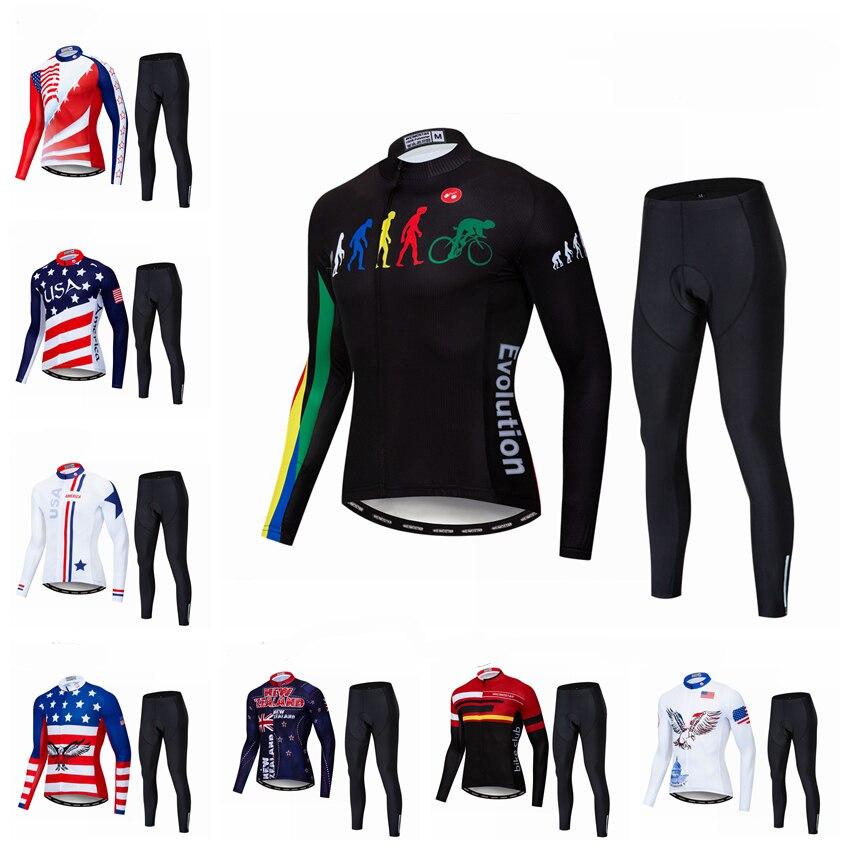 Maillots de cyclisme ensembles Ropa Maillot Ciclismo manches longues automne cyclisme Jersey vtt USA vêtements respirant pantalon réfléchissant noir