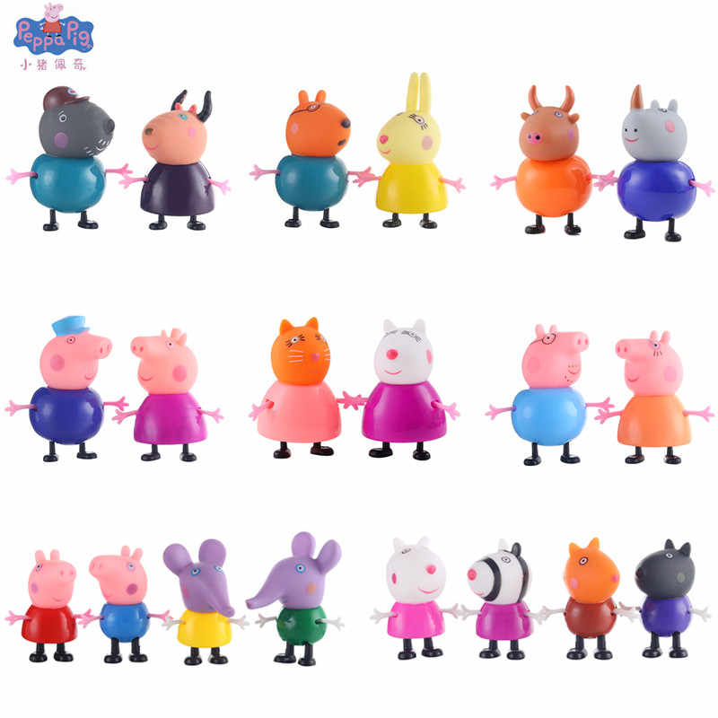 Venda quente Peppa pig George brinquedos Action Figure Pelucia pepa pig Original Anime Action Figure Brinquedos Para As Crianças brinquedos Gife conjunto