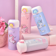 350MLBouncing Cover Bottle Vacuum flask Unicorn Pattern Thermal Mug Travel Thermos Cup Stainless Steel