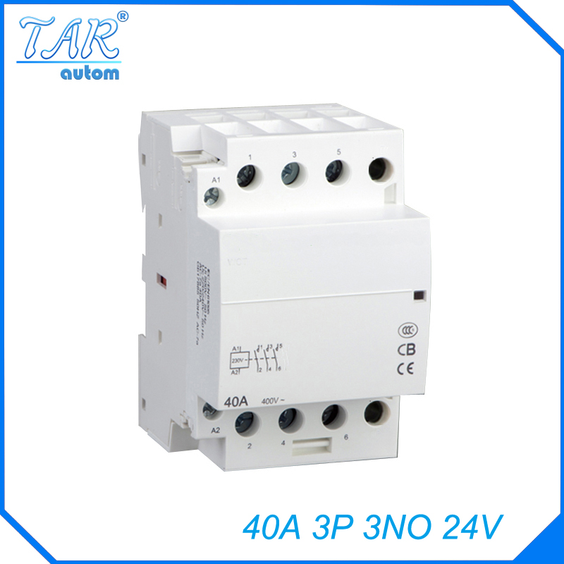 Modular three pole household small AC contactor Household Power Contactor 40A 3P 3NO 24V