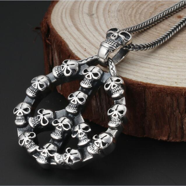 NEW 100% 925 Silver Skull Necklace Pure Silver Skeleton Pendant Necklace Sterling Peace Symbol Necklace