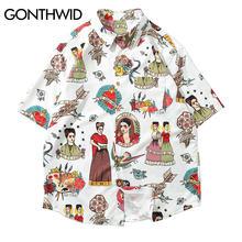 820fc5518e7c1 GONTHWID Frida Kahlo Viva La Vida Hawai Aloha Beach camisas de verano  casuales de los hombres