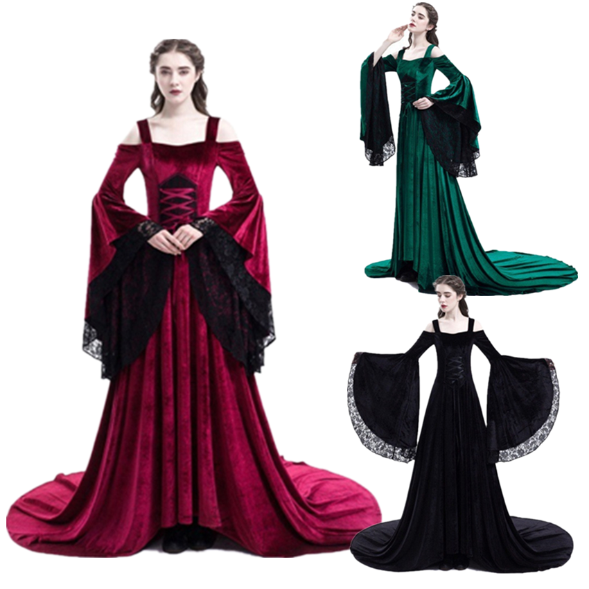 Woman Medieval Palace Court Lace Dress Carnival Halloween Princess Cosplay Costumes Women Vintage Strapless Wedding Ball Gown