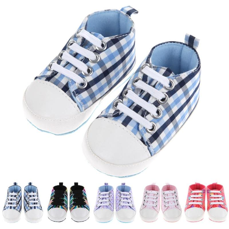 Newborn Baby Boy Girls Canvas Shoes Toddlers Sports Gingham First Walkers Shoes Lace-Up Fashionable Prewalkers Baby Shoes