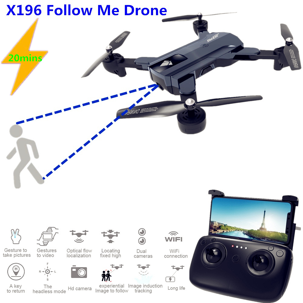 X196 HD 2MP RC Camera Drone with 20 mins Flight Time and Follow Me Function 4